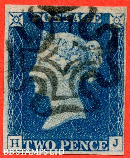"""SG. 5. D1 (2) uc. DS5. """" HJ """". 2d blue. Plate 1. A fine used example cancelled by a black maltese cross with the """" Ray flaws 2 & 10 NE square """" variety."""