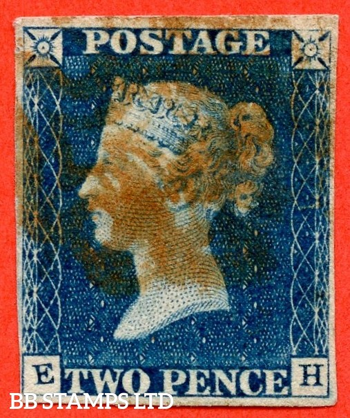 """SG. 5. D1 (2) uc. DS5. """" EH """". 2d blue. Plate 1. A good used example with the """" Ray flaws 2. 10 & 11 NE sq.  ' TW ' of ' TWO ' joined and ' O ' of ' TWO ' dented. Small mark in bottom right of SW square """" varieties."""