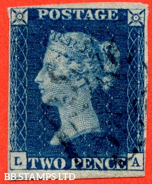 "SG. 5 e. DS8 ud. "" LA "" 2d Blue. Plate 2. A fine used example cancelled by a fine single "" BLUE "" maltese cross. Complete with BPA certificate."