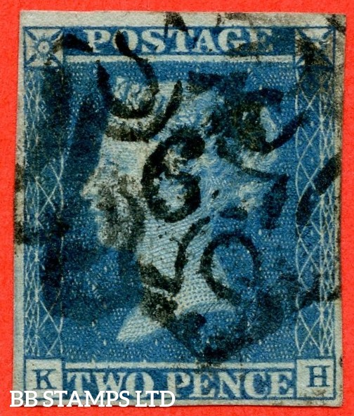 """SG. 14 f. E1 vf. ES11 g. """" KH """". 2d blue """" 6 """" in Maltese Cross. Plate 3. A good used example. With the listed """" Horizontal guide line through value """" variety."""