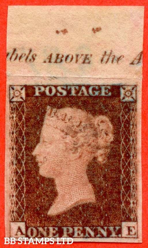 "SG. 17. C1. "" AE "". 1d Red-brown. Plate 183. IMPRIMATUR. A very fine top marginal inscriptional example of this scarce Victorian issue."
