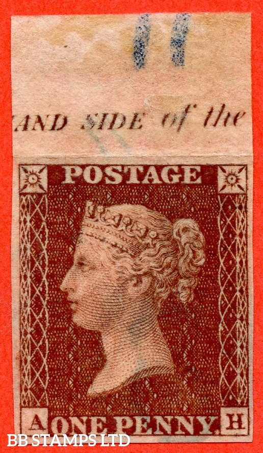 """SG. 24. C3.  """" AH """". 1d Red-brown. Plate 11. IMPRIMATUR. A very fine top marginal inscriptional example of this scarce Victorian issue."""