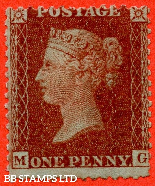 """SG. 29. C8. (1) """" MG """". 1d Red-brown. Plate 30. A fine UNMOUNTED MINT example."""