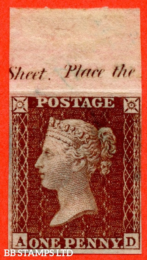 """SG. 24. C3.  """" AD """". 1d Red-brown. Plate 4. IMPRIMATUR. A very fine top marginal inscriptional example of this scarce Victorian issue."""