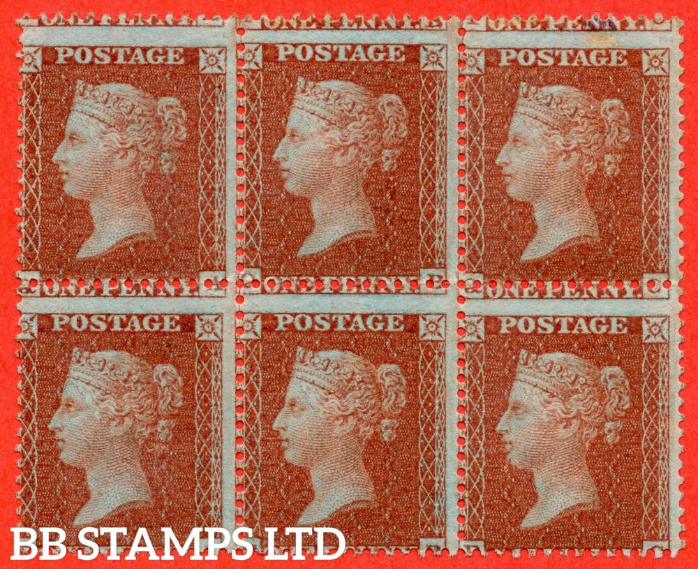 "SG. 24. C3 (1). "" QA QB QC RA RB RC "". 1d red brown ( Die II ). Plate 6. A fine mint ( 3 stamps UNMOUNTED MINT ) block of 6. A scarce multiple."