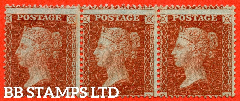 "SG. 24. C3 (1). "" DA DB DC "". 1d red brown ( Die II ). Plate 6. A fine mint ( 1 stamp UNMOUNTED MINT ) horizontal strip of 3."