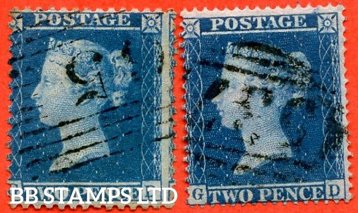"SG. 35. F7 e and SG. 36a. F8 d. "" GD "". 2d deep blue plate 6. A fine used MATCHED PAIR with both examples clearly showing the listed variety "" DOUBLE LETTER ' D ' ""."