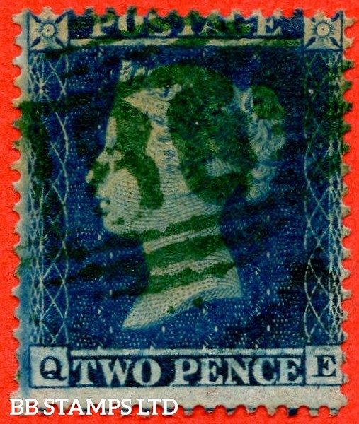 """SG. 20a. F4. """" QE """". 2d blue plate 5. A good used example of this scarce Victorian issue cancelled by a GREEN """" 186 numeral  of DUBLIN """". With the """" lowest portion right side line thinly recut """" variety and complete with RPS certificate."""