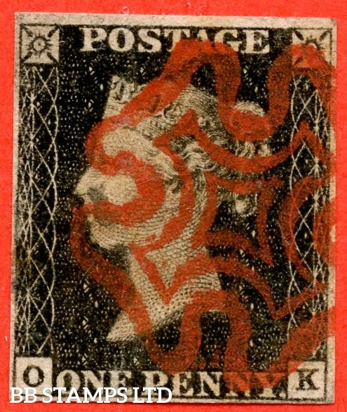 """SG. 3. A1 (3). AS2. """" OK """". 1d grey-black ( worn plate ). Plate 1a. A fine used example cancelled with a red maltese cross. With the constant variety """" Ray flaws 10 / 5 NW square """" ."""