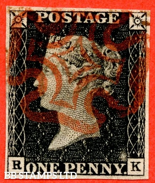 """SG. 3. A1 (3). AS2. """" RK """". 1d grey-black ( worn plate ). Plate 1a. A very fine used example cancelled with a red maltese cross. With the """" Ray flaws 10 / 5 NW square and slight basal shift """" varieties."""