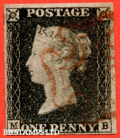 """SG. 3. A1 (3). AS2. """" MB """". 1d grey-black ( worn plate ). Plate 1a. A fine used example cancelled with a red maltese cross. With the constant variety """" Ray flaws 10 / 5 NW square """"."""
