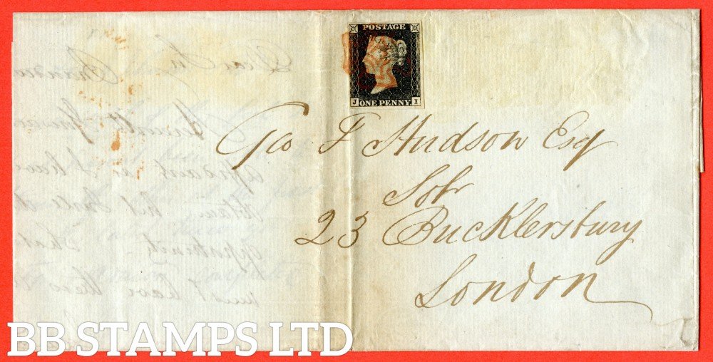 """SG. 3. A1 (3). AS2 A1 tj. """" JI """". 1d grey-black ( worn plate ). Plate 1a. A fine used example on cover from CONGLETON ? To LONDON dated 30th May 1840. With the """" Ray flaws 10 / 5 NW square """" variety."""