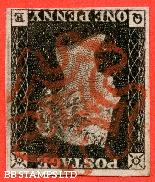 """SG. 1 wi. A1 (1) e. AS1 g. """" QE """". 1d Intense black ( early impression ). Plate 1A. INVERTED WATERMARK. A very fine used example with the variety """" Ray flaw 10 / 5 NW square """"."""