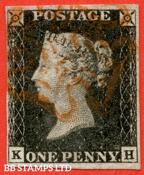 """SG. 3. A1 (3). AS2. """" KH """". 1d grey-black ( worn plate ). Plate 1a. A fine used example cancelled with a red maltese cross. With the constant variety """" Ray flaws 10 / 5 NW square """"."""