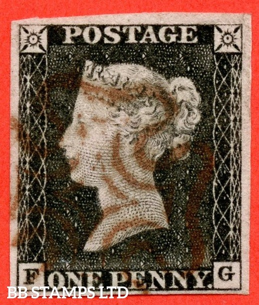 "SG. 3 c. A1 (3) h. AS2. "" FG "". 1d grey-black ( worn plate ). Plate 1a. A fine used example cancelled with a brownish maltese cross. With the listed variety "" Vertical guide line NE sq. "" and constant variety "" Ray flaws 10 / 5 NW square ""."