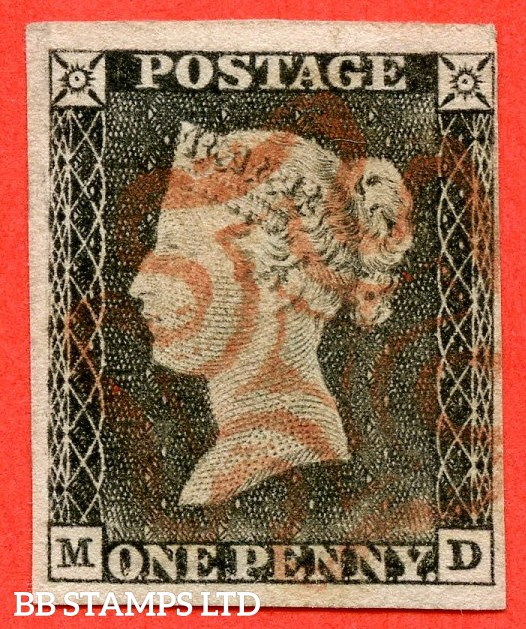 "SG. 3. A1 (3). AS3. "" MD "". 1d grey black ( very worn plate ). Plate 1a. A fine used example cancelled by a red maltese cross. With the constant varieties "" Ray flaws 10 / 5 NW square and faint vertical guide line NE square ""."