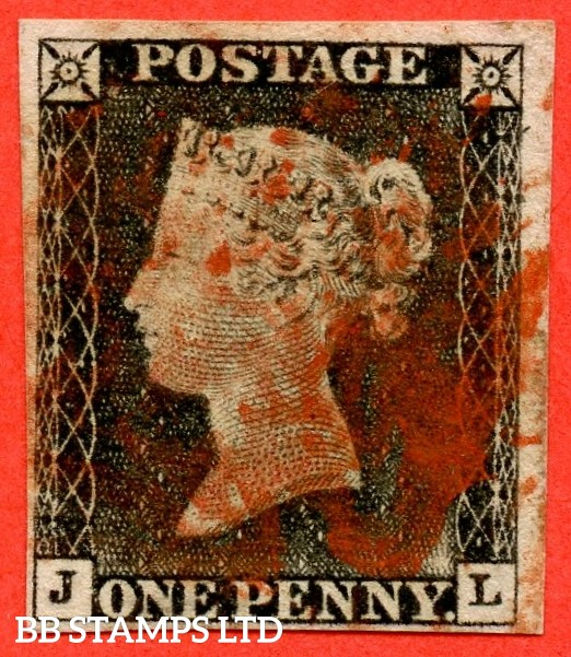 "SG. 3. A1 (3). AS2. "" JL "". 1d grey-black ( worn plate ). Plate 1a. A good used example cancelled with a red maltese cross. With the "" Ray flaws 10 / 5 NW square "" variety."