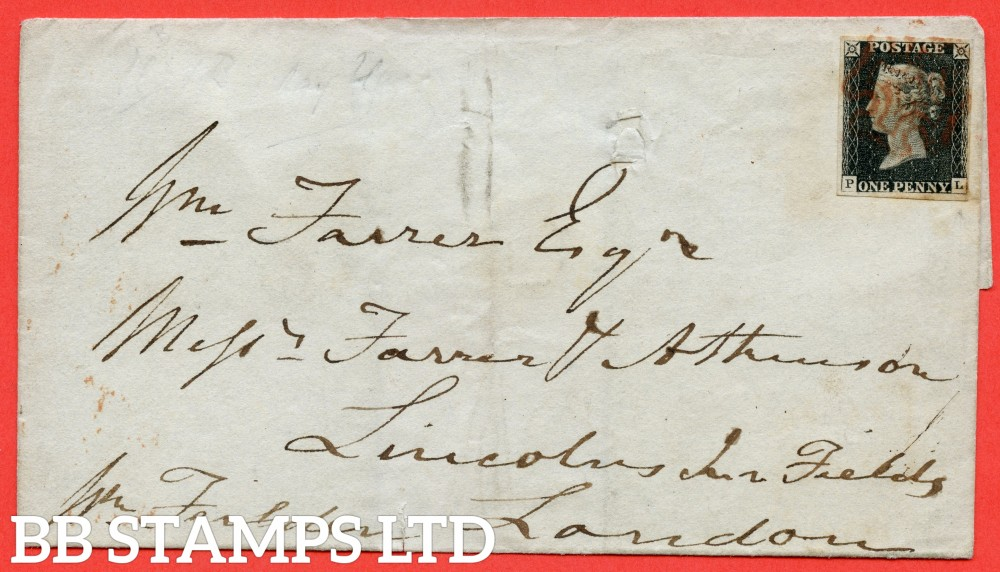 """SG. 2. A1 (2). AS5. """" PL """". 1d black. Plate 1b. A fine used example on cover from BLACKBURN to LONDON dated 13th July 1840. With the """" Burr rub below ' E PE ' of ' ONE PENNY and dot on toe of ' L ' in SE square """" varieties."""