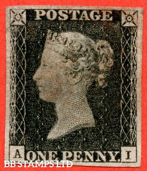 """SG. 2. A1 (2). AS5. """" AI """". 1d black. Plate 1b. A fine used example cancelled by a red maltese cross. With the """" Guide dot NE square and ray flaws 10 / 7 NW square """" varieties."""
