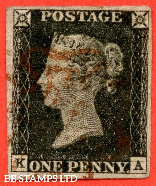 "SG. 2 c. A1 (2) h. AS5. "" KA "". 1d black. Plate 1b. A fine used example cancelled by a red maltese crosses. With the listed variety "" Horizontal guide line SE "". Also with "" Ray flaw 10 7 NW square ""."