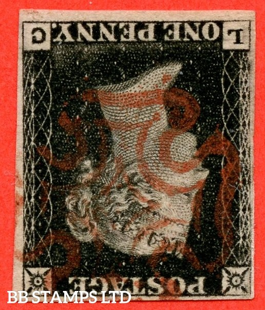 """SG. 2 wi. A1 (2) e. AS5 l. """" LC """". 1d black. Plate 1B. INVERTED WATERMARK. A very fine used example."""