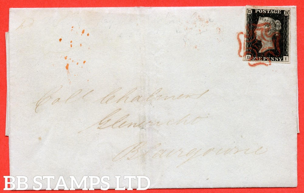 """SG. 2 c. A1 (2) h. AS5. """" DI """". 1d black. Plate 1b. A very fine used example on cover from EDINBURGH to BLAIRGOWRIE dated 17th July 1840. With the listed variety """" Vertical guide line NE sq. """". Also Dots in NW sq. and """" Ray flaw 10 / 7 NW square """"."""