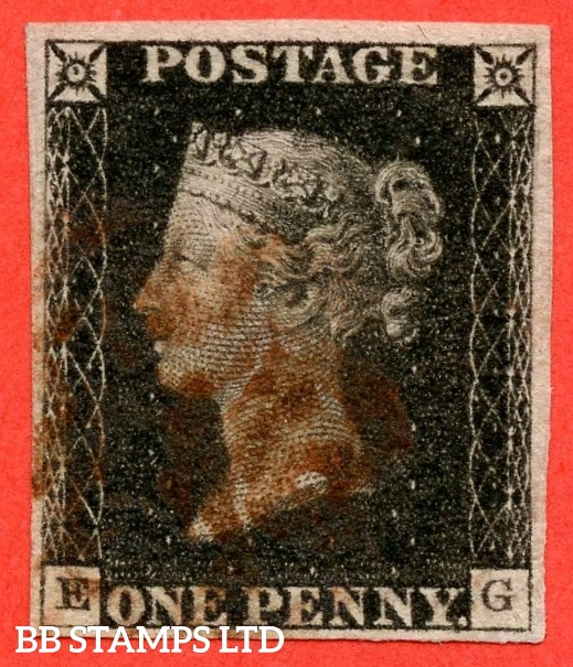 """SG. 2. A1 (2). AS5. """" EG """". 1d black. Plate 1b. A good used example cancelled by a red maltese cross with the constant variety """" Ray flaws 10 / 7 NW square """"."""