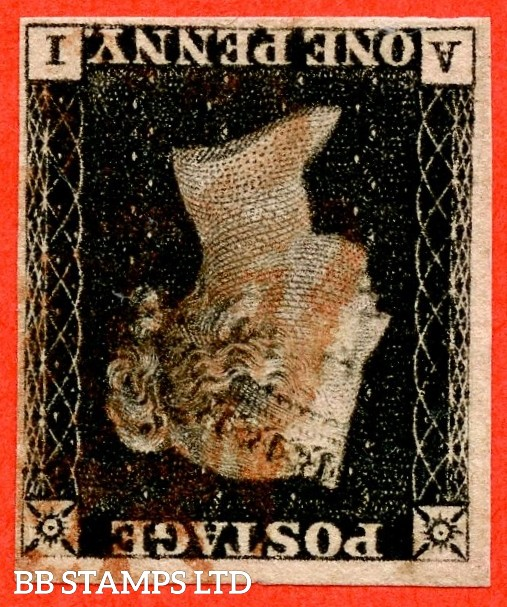 "SG. 2 wi. A1 (2) e. AS5 l. "" AI "". 1d black. Plate 1B. INVERTED WATERMARK. A fine used example with the "" ray flaws 10/7 NW square "" variety."