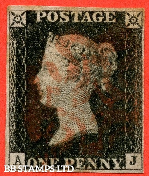 "SG. 2. A1 (2). AS5 h. "" AJ "". 1d black. Plate 1b. A fine used example with the listed variety "" Left side line recut "" and constant varieties "" Ray Flaws 10 / 7 NW Sq. and dot touching outside of side line of NE sq. ""."