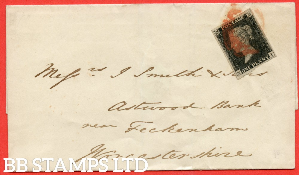 """SG. 2. A1 (2). AS5 e. """" NI """". 1d black. Plate 1b. A fine used example on cover from BIRMINGHAM to FECKENHAM dated 21st January 1841. With the listed variety """" ' N ' retouched """" . Also """" Ray Flaws 10 / 7 NW square """" variety."""