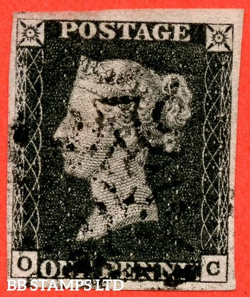 """SG. 2. A1 (2). AS5. """" OC """". 1d black. Plate 1b. A fine used example cancelled by a black maltese cross with the constant variety """" Ray flaws 10 / 7 NW square """"."""