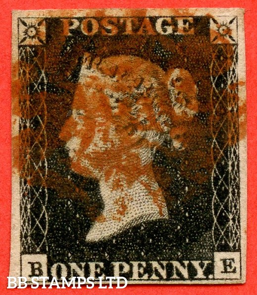 """SG. 2. A1 (2). AS5. """" BE """". 1d black. Plate 1b. A good used example cancelled by a red maltese cross with the constant variety """" Ray flaws 10 / 7 NW square """"."""