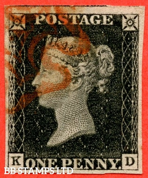 """SG. 2. A1 (2). AS5 h. """" KD """". 1d black. Plate 1b. A fine used example with the listed variety """" Left side line recut """" and constant varieties """" Ray Flaws 10 / 7 NW SQ. Horizontal line SE and SW squares and mark on base of ' D '."""