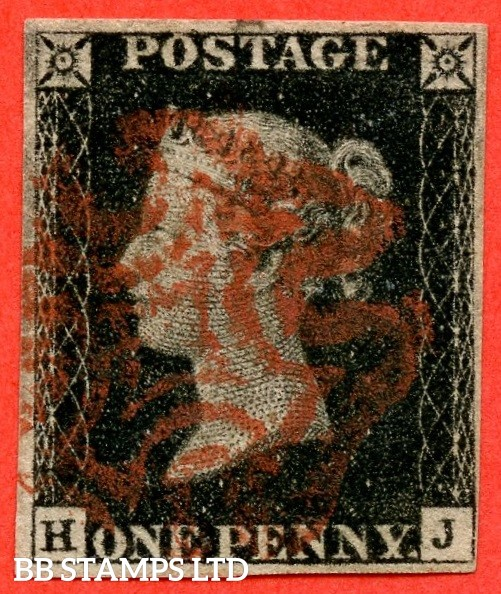"""SG. 2. A1 (2). AS5. """" HJ """". 1d black. Plate 1b. A good used example cancelled by a red maltese cross."""