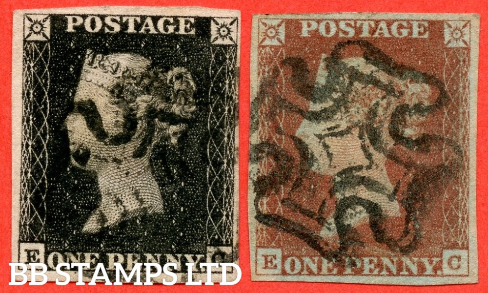 """SG. 2 c & 7. A1 (2) h & A2. AS5 & AS6. """" EC """". Plate 1b. A good used matched pair both with the listed variety """" Vertical guide line NE square """" and constant variety """" Ray flaws 10 / 7 NW square """"."""
