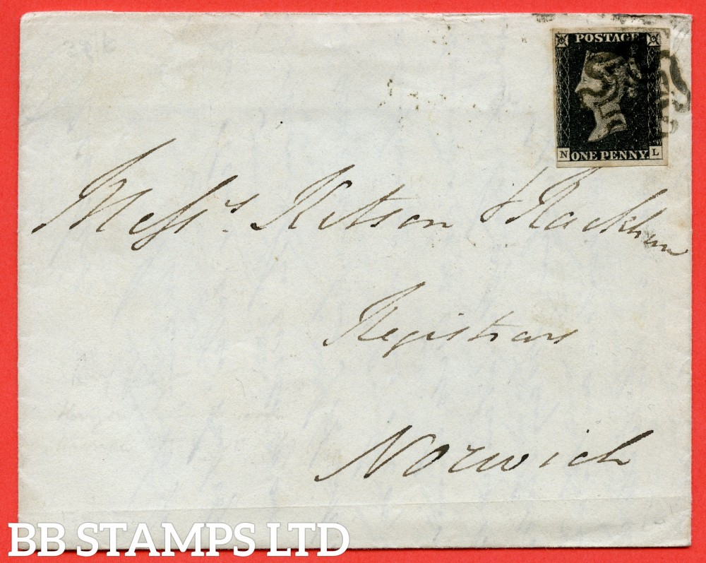 """SG. 2 c. A1 (2) h. AS5. """" NL """". 1d black. Plate 1b. A fine used example on cover from IPSWICH to NORWICH dated 7th May 1841. With the listed """" Horizontal guide line NE sq. """" variety."""