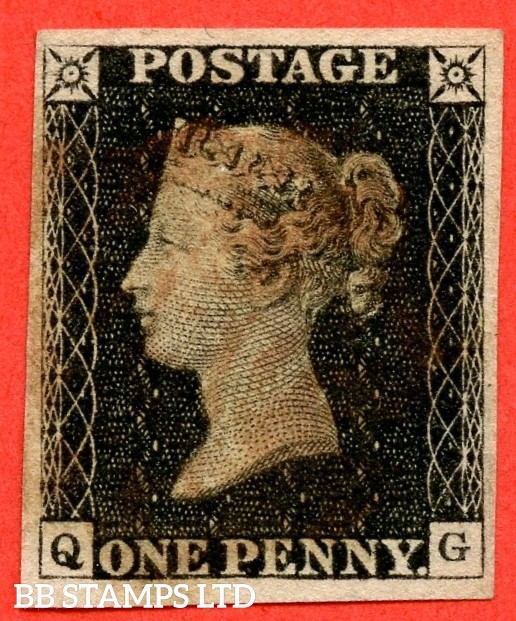 "SG. 2. A1 (2). AS5 h. "" QG "". 1d black. Plate 1b. A good used example with the listed variety "" Left side line recut "" also "" Ray Flaws 10 / 7 NW SQ. "" variety."