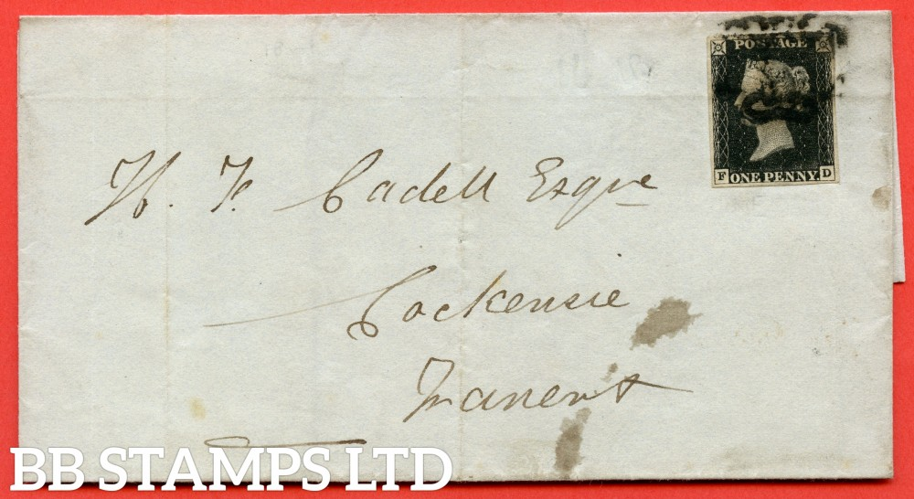 """SG. 2. A1 (2). AS5 g. """" FD """". 1d black. Plate 1b. A good used example on cover to COCKENSIE TRANENT dated 2nd March 1841. With the listed variety """" Burr rubs ' NE ' of ' ONE ' nearly joined. """"."""