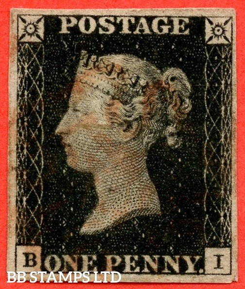 "SG. 2. A1 (2). AS5. "" BI "". 1d black. Plate 1b. A fine used example cancelled by a red maltese cross."