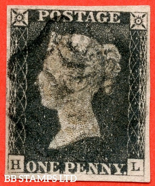 """SG. 2. A1 (2). AS5 i. """" HL """". 1d black. Plate 1b. A fine used example cancelled by a black maltese cross. With the listed variety """" Recut SW corner """" and constant varieties """" Ray Flaws 10. 7 NW square and base line weak """"."""