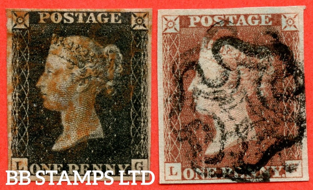 """SG. 2 & 7. AS5 & AS6. """" LG """". Plate 1b. A good used matched pair with the contstant varieties """" Ray flaws 10 / 5 NW square ( as in plate 1a ). Scratch in lower margin ( 1d Black only ) """"."""