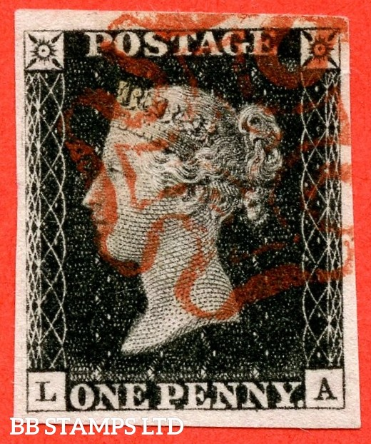 """SG. 2. A1 (2). AS5 h. """" LA """". 1d black. Plate 1b. A very fine used example cancelled by a red Maltese cross. With the listed variety """" Left side line recut """". Also """" Ray Flaws 10 / 7 NW SQ. and scratches in left margin """" varieties."""