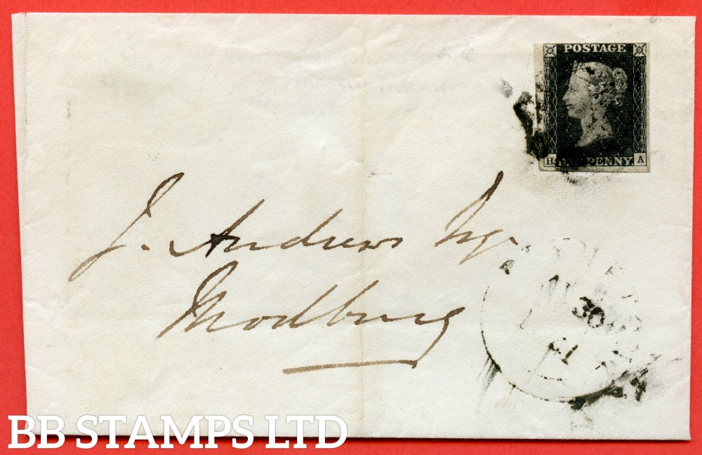"SG. 2. A1 (2). AS5. "" HA "". 1d black. Plate 1b. A good used example on cover from PLYMPTON to MODBURY dated 30th August 1841. With the "" Ray Flaws 10/7 NW square and Dot within uprights of ' H  in SW sq. ( doubed ?) . "" varietes."