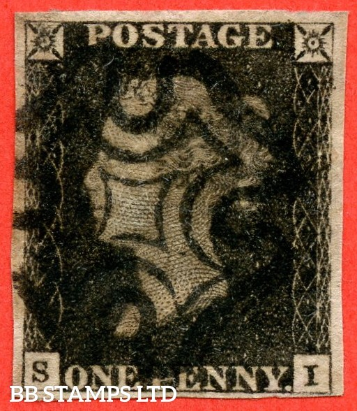 """SG. 2. A1 (2). AS5 j. """" SI """". 1d black. Plate 1b. A good used example with the listed variety """" Scratch through ' OS ' of ' POSTAGE ' """" and constant variety """" Ray Flaws 10 / 7 NW square """"."""