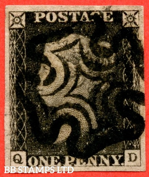 "SG. 2. A1 (2). AS5 g & h. "" QD "". 1d black. Plate 1b. A fine used example with the listed "" Burr rubs ' NE ' of ' ONE ' nearly joined and left side line recut "" varieties. Also "" Ray Flaws 10 / 7 NW square "" variety."