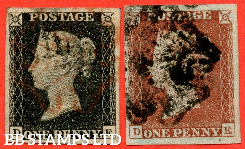 "SG. 2 & 7. AS5 k & AS6 k. "" DE "". Plate 1b. A good used matched pair with the listed variety "" Roller flaw in NE segment of left star "". Also "" Ray flaws 10 / 7 NW square "" variety."