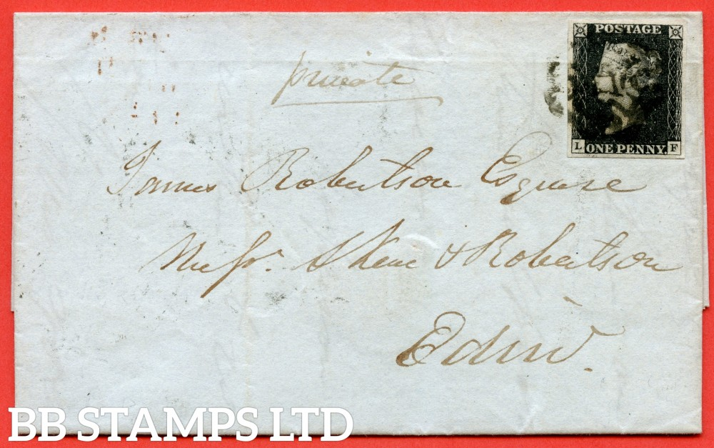 "SG. 2. A1 (2). AS5. "" LF "". 1d black. Plate 1b. A fine used example on cover from INVERNESS to EDINBURGH dated 22nd March 1841. With the "" Ray flaws 10 / 7 NW sq. "" variety."