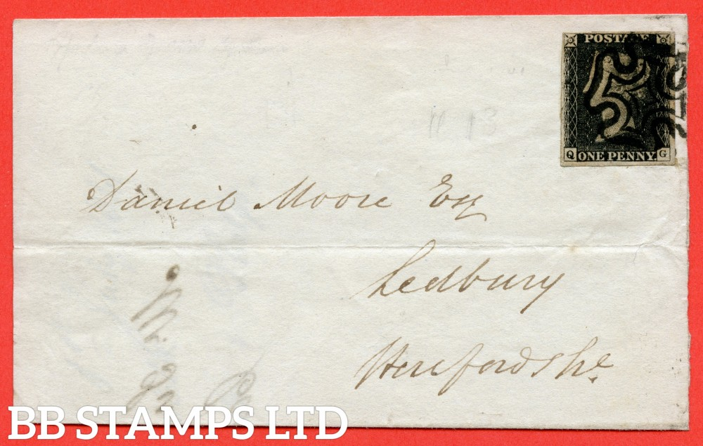 """SG. 2. A1 (2). AS5 h. """" QG """". 1d black. Plate 1b. A fine used example on cover from LONDON to LEDBURY dated 1st July 1841. With the lsted """" Left side line recut """" variety. Also """" Ray Flaws 10 / 7 NW square """" variety."""