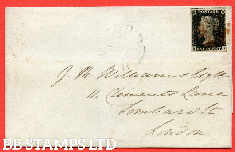 """SG. 2. A1 (2). AS5. """" SH """". 1d black. Plate 1b. A very fine used example on cover from HEREFORD to LONDON dated 17th November 1840. With the """" Ray Flaws 10/7 NW square. """" variety."""