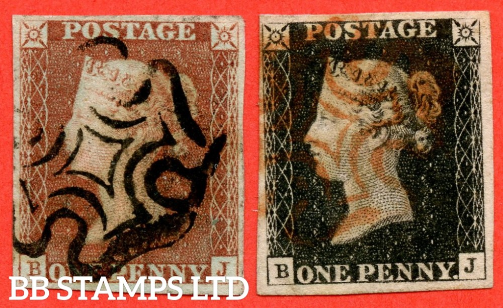 "SG. 2 & 7. AS5 h & AS6 h. "" BJ "". Plate 1b. A fine used matched pair with the listed variety  "" Left side line recut "" and constant variety "" Ray Flaws 10 / 7 NW SQ. ""."
